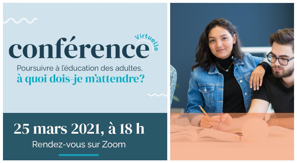 Conférence : Poursuivre à l'éducation des adultes, à quoi dois-je m'attendre?